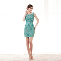 Turquoise Robe Soiree Women Formal Dresses 2019 Lace Beaded Evening Dress Short Bandage Dress Vestidos Cortos