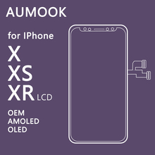 AUMOOK for IPhone X XS XR LCD OLED Soft AMOLED OEM Touch Screen Display Pantalla 3D Digitizer Assembly