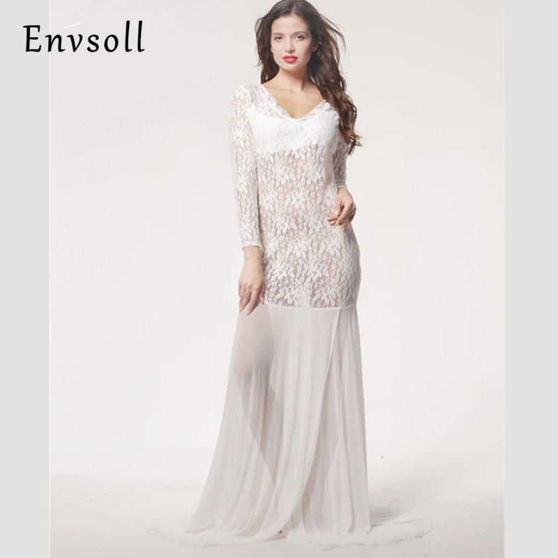 Envsoll 2017 Maternity Dress For Photo Shooting Lace Dress Maternty Photography Props Long Sleeve Cotton Chiffon Pregnant Dress smdppwdbb maternity dress maternity photography props long sleeve maternity gown dress mermaid style baby shower dress plus size