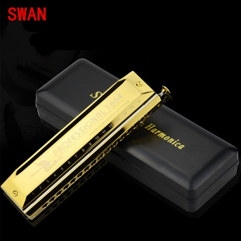 Silver & Golden Swan 16 Holes 64 Tone Harmonica C Key Chromatic Mouth Organ Professional Wind Musical Instruments Gifts купить недорого в Москве