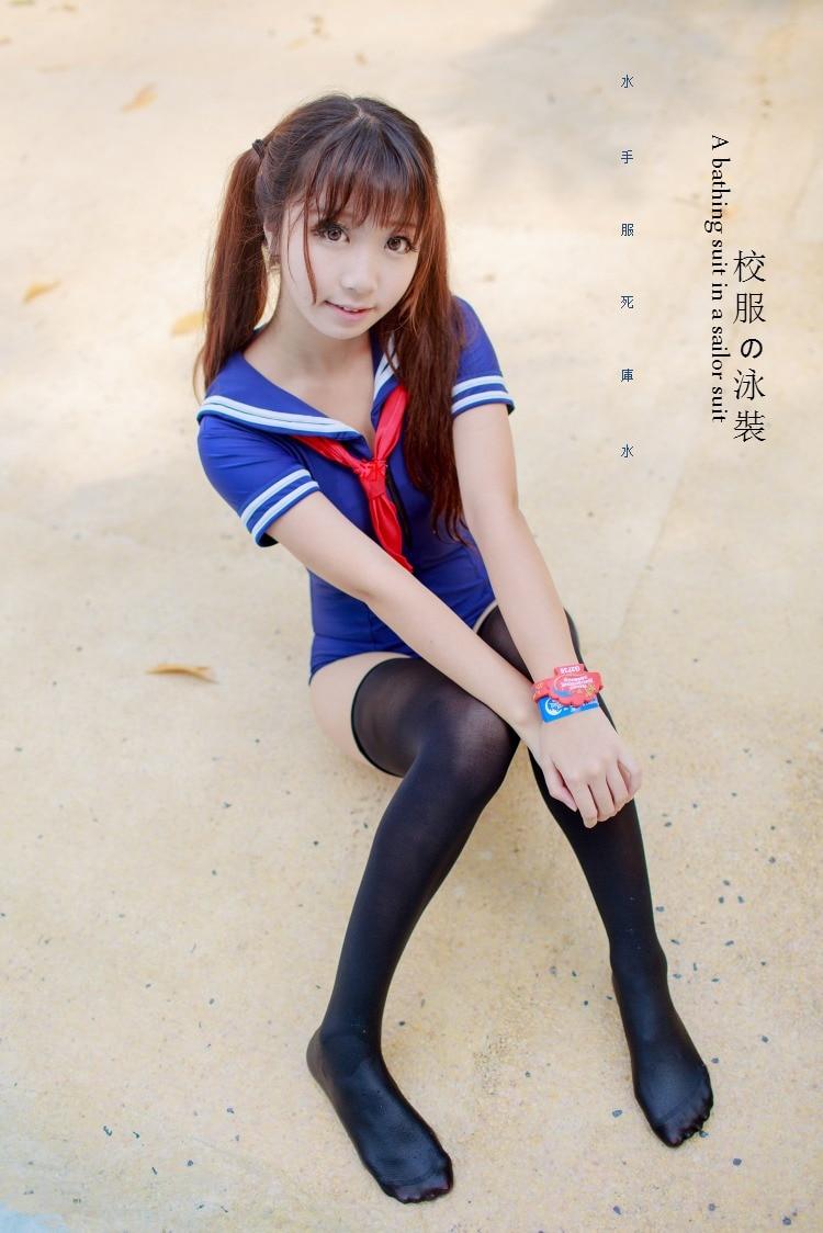 Японская школьная форма стиль sukumizu купальник милый моряк цельный Лолита купальник девушка косплей сексуальный купальный костюм - Цвет: Синий