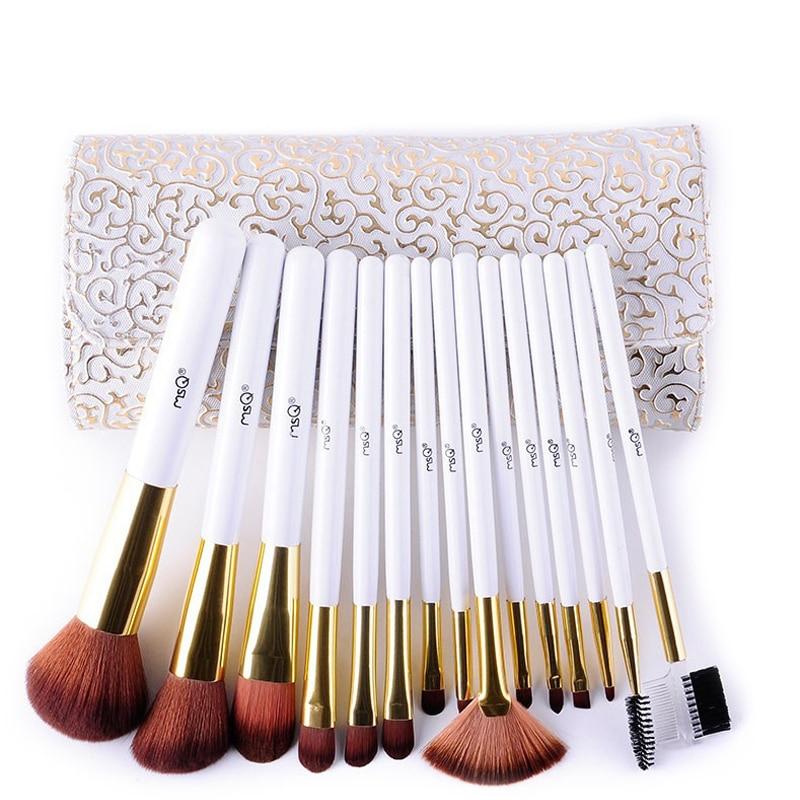 MSQ 15pcs/set White handle makeup brush Tools Cosmetic Powder Foundation powder Brushes Kit with cosmetic PU bag bob cosmetic makeup powder w puff mirror ivory white 02