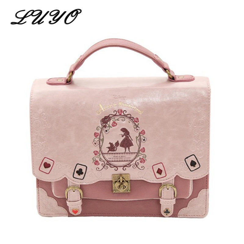 Alice In Wonderland Cute Kawaii Leather Small Backpack For Girls Women Bags Vintage Student Schoolbag Mochila