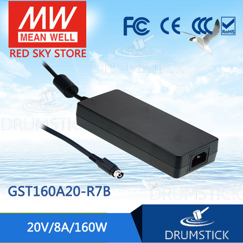 цена на Advantages MEAN WELL GST160A20-R7B 20V 8A meanwell GST160A 20V 160W AC-DC High Reliability Industrial Adaptor [Real6]