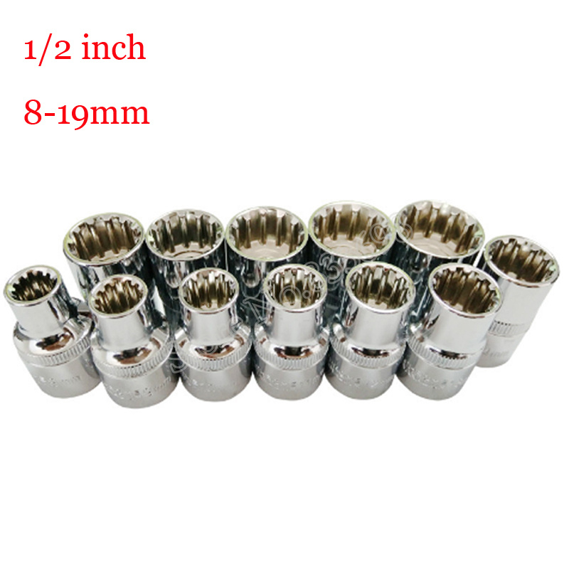 12Pcs 1/2 Inch Universal 12 Tooth Socket Wrench Head Inner Hexagon Spanner Allen Head Auto Repair Tools 8-19mm