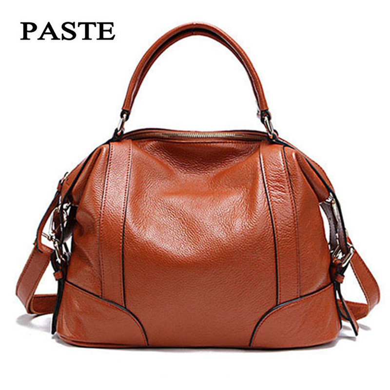 PASTE 2 Sizes Fashion Tote Bags for Women New Classic Leisure Handbags Genuine Cow Leather Female Shoulder Bags bolsa feminina-in Top-Handle Bags from Luggage & Bags    1