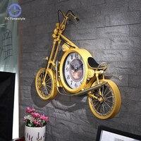 Grande relógio de parede criativo da motocicleta relógio de parede sala estar casa decoração retro ferro bicicleta relógios digitais