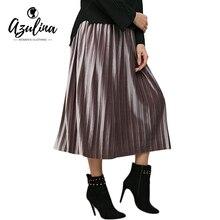 AZULINA Velvet Long Pleated Skirt Women 2017 Spring New Vintage Casual High Waist Female Soft Retro High Elastic Elegant Ladies