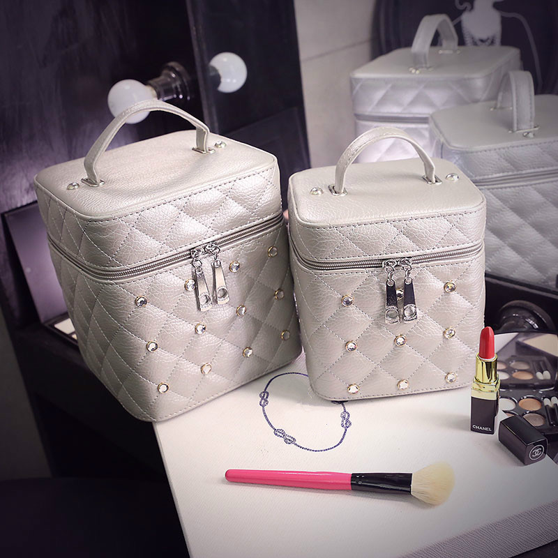 Case Cosmetic-Bag Makeup Beauty-Box Travel-Wash Diamond Portable Women Rivets Wash-Cube