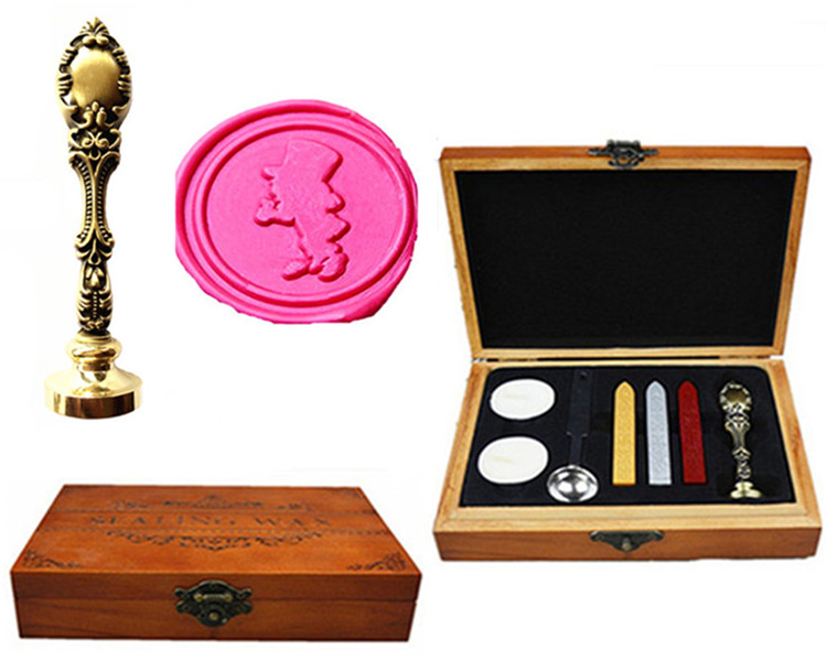 Vintage Alice In Wonderland Custom Picture  Wedding Invitation Wax Seal Sealing Stamp Handle Set Kit Peacock Metal Handle box elegant flower lace lacut cut wedding invitations set blank ppaer printing invitation cards kit casamento convite pocket