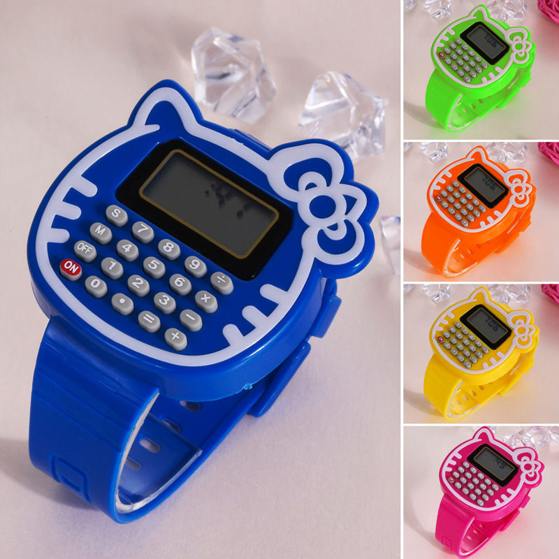 New Silicone Multi-Purpose Wristwatch Kids Date Month Time Display Dual Calculator Electric Watch Figures for Children toys