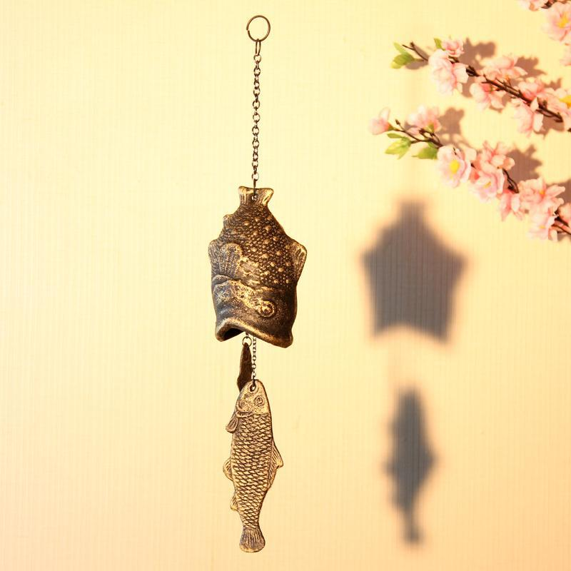 Antique Imitated Home Decoration Iron Casting Fish Shaped Good Luck Wind Chime Door Balcony Wind Bells Metal Crafts