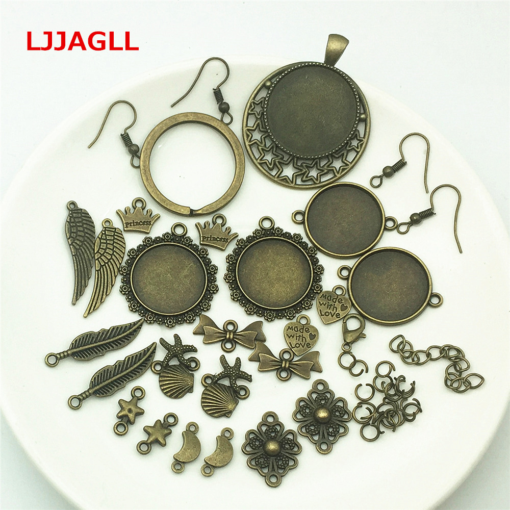 LJJAGLL Bronze 50pcs/set Zinc Alloy Jewelry Findings Stars Feather Flowers Hearts Charms accessory Components Diy Carfts AZH003