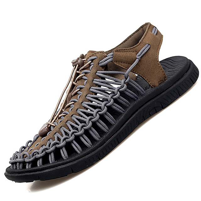 Summer Big Size 48 Men Sandals Fashion Handmade Weaving Design Breathable Casual Beach Shoes Soft Bottom Outdoor Sandals for Men 3