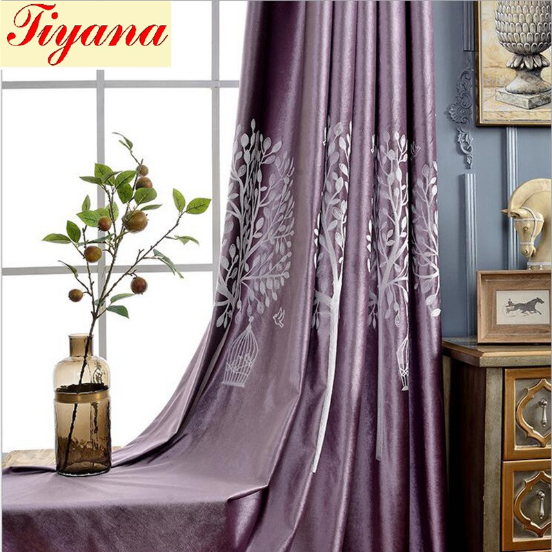 Purple Blackout Curtain Night Curtains White Embroidered