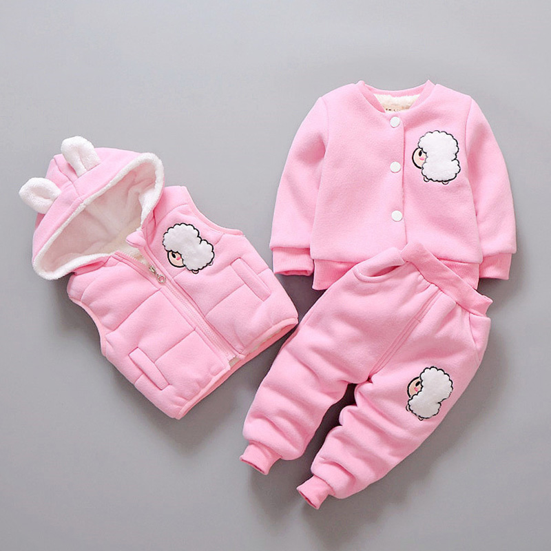 Cute Animal Kids Baby Girls Clothing Sets 3pcs 0-4 Years New Autumn Winter Warm Velvet Toddler Girl Clothes Outfit Suits Z298 retail 2015 winter new cute baby girl clothes black swan romper tutu dress kids cartoon clothes sets newborn outfit suits 4pcs