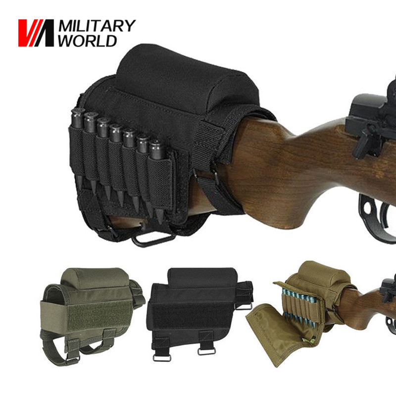 Military World Tactical Rifle Shotgun Buttstock Munizioni Cartucce Holder Airsoft Caccia Gun Bullet Carrier Fondina Borsa