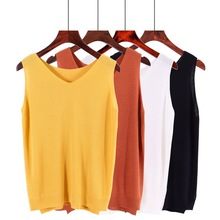 Split Side Ice Silk Summer Spring Harajuku Knit Tank Top Cami Korean Camisole Elastic Vest V Neck Solid Color New Bottoming Tops solid knit cardigan with cami top