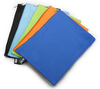 100 pcs A4 Canvas File Folder Bag Candy Colors Black Zip folder for Documents Office Home School Filing Products 1