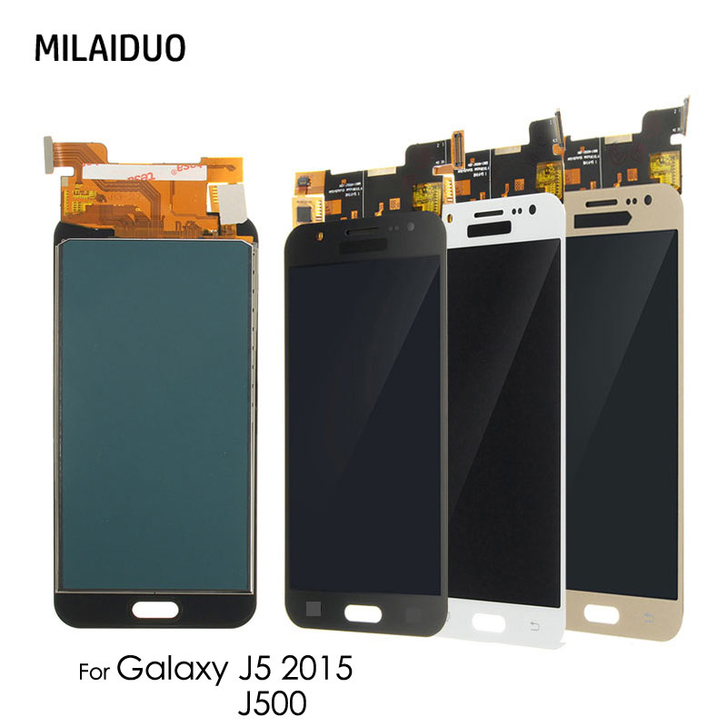 <font><b>LCD</b></font> Display Für Samsung Galaxy J5 2015 J500 SM-J500FN <font><b>J500F</b></font> J500FN J500M J500H J500Y Touchscreen Digitizer Einstellbar Hell image