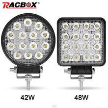 4 calowy 42W 48W LED światło robocze Offroad samochód 4WD ciągnik siodłowy przyczepa do łodzi 4x4 ATV SUV 12 24V Spot Flood 4.2 LED światło drogowe