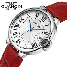 Бренд GUANQIN luxury женские Кварцевые часы женщины часы Кварцевые часы Сапфир Водонепроницаемый кожа Старинные relógio feminino