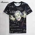 Raisevern 2017 3D Camiseta Del Verano Diseño Divertido Einstein Impreso de Manga corta Casual T-shirt Top Tees O Cuello Camiseta Gratis gratis