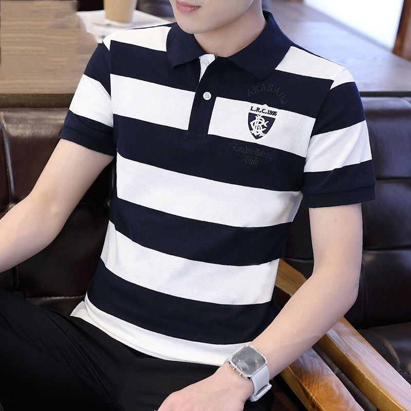 100% Cotton   Polo   Shirt Men 2019 High Quality Tops Striped Embroidery Men's   Polo   Shirts Breathable Casual Golf   Polos   Top Shirt