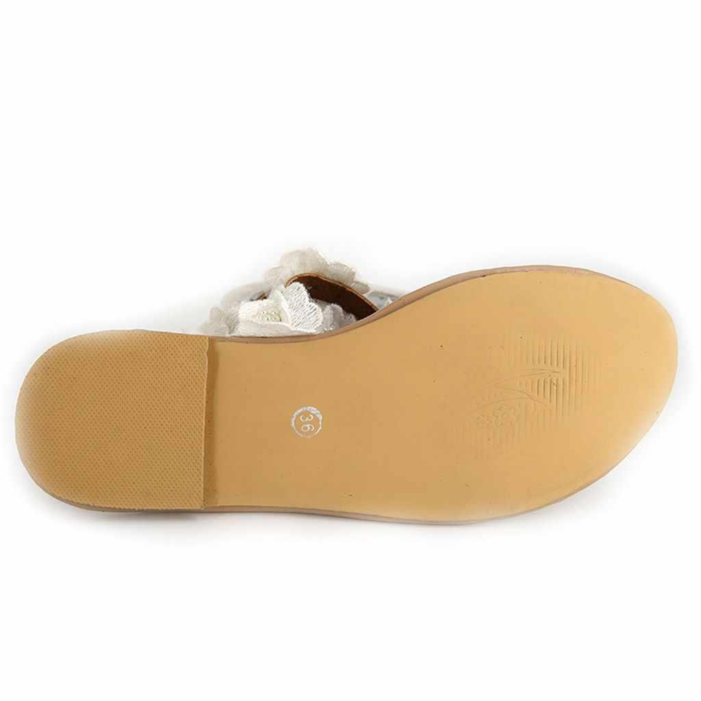 נשים לבן סנדלי הבוהן פרח שטוח תחתון נעלי קיץ סנדלי בוהן פתוח רומא sandalias mujer 2019 zapatos de mujer חדש