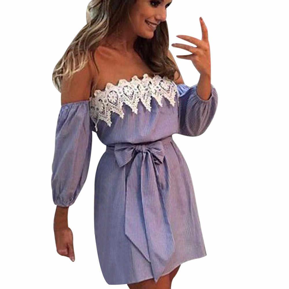 נשים סקסי קיץ שמלה כבוי כתף תחרה טלאים שמלת גבירותיי חלוק פאטאל בציר הדפסת חוף תחבושת שמלת נקבה Vestidos