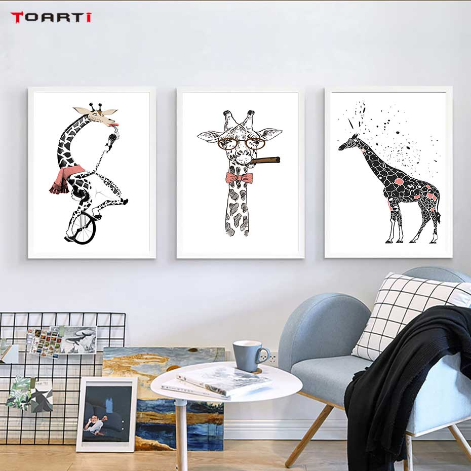 Cool Giraffe With Cigar Prints Posters Cartoon Animals Canvas Painting On The Wall For Kids Living Room Home Decor Art Pictures-in Painting & Calligraphy from Home & Garden
