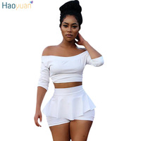 HAOYUAN White Outfits Women Two Piece Set 2017 Fall Half Sleeve Off Shoulder Crop Top And