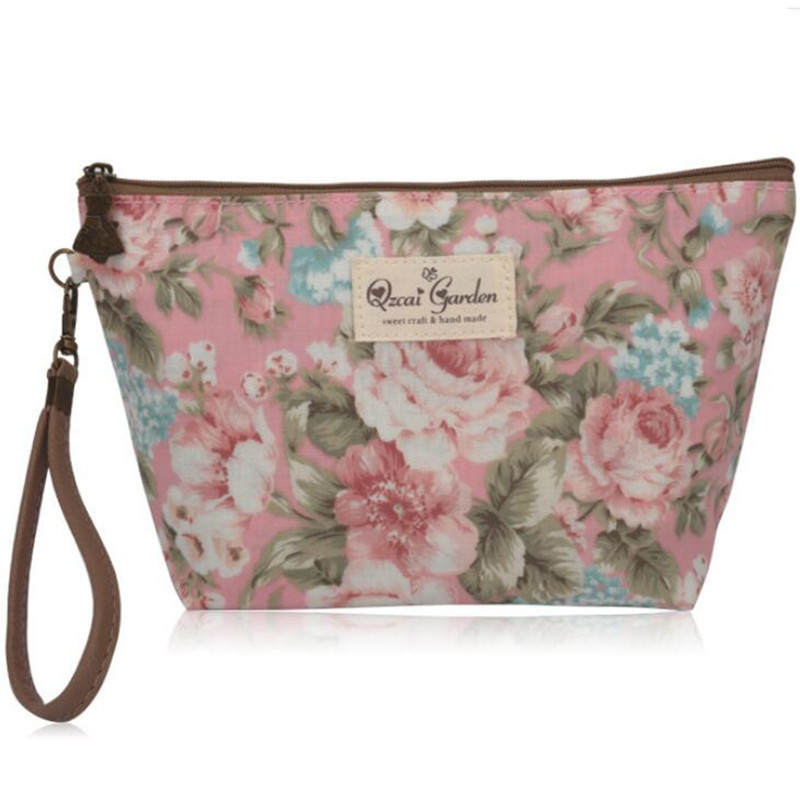 Vintage Floral Printed Cosmetic Bag Women Makeup Bags Female Zipper Cosmetics Bag Portable Travel Make Up Pouch Beautiful flower 1pcs urinal gogirl go girl woman urination device 9 5cm stand up pee fud camping travel portable female tiolet
