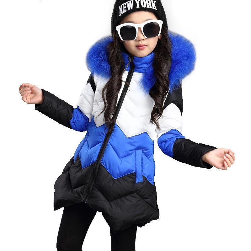 ФОТО Hot Sale 2017 Baby Girls Winter Coat Children Stripe Jacket Kids WARM Thick Cotton-padded Coat Windproof Outdoor Parka Outerwear