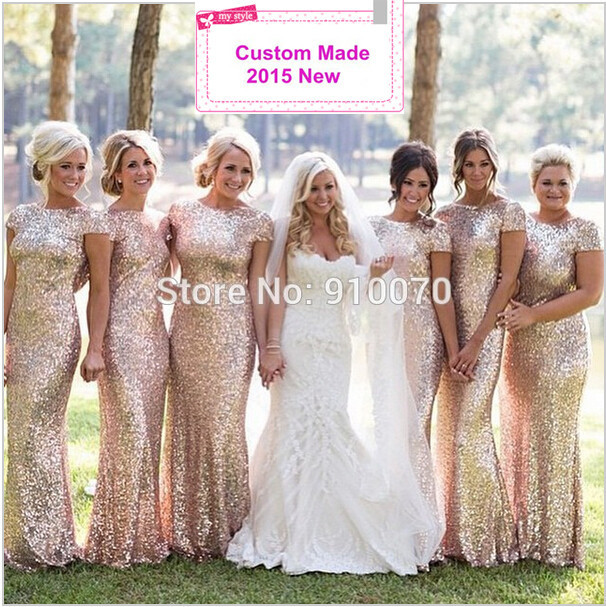 2015 Custom Made Vestidos Short Sleeve Backless Wedding Party Dresses Charming  Sparking Sequins Bridesmaid Dresses BD54 799c311a7a05
