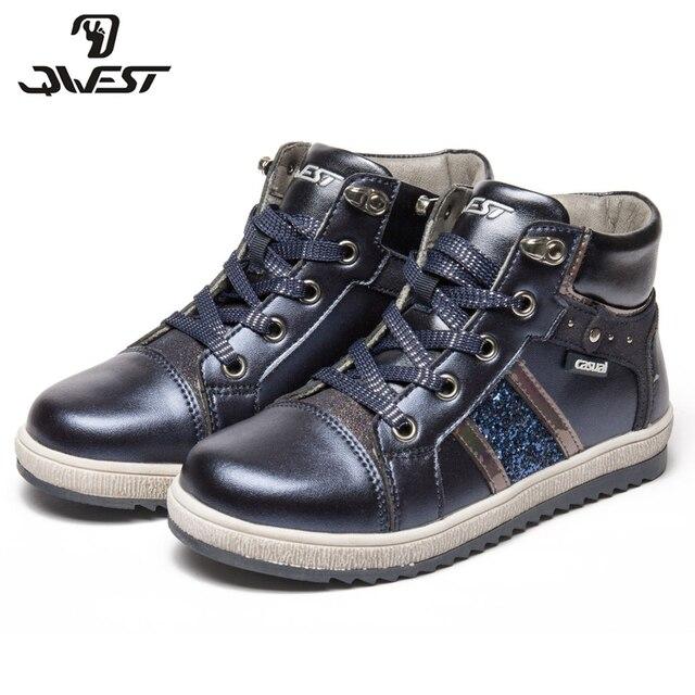 QWEST (Фламинго) Осенние теплые ботинки Высококачественная Нескользящая детская обувь для девочек на шнуровке Бесплатная доставка 82B-XY-1008/1009