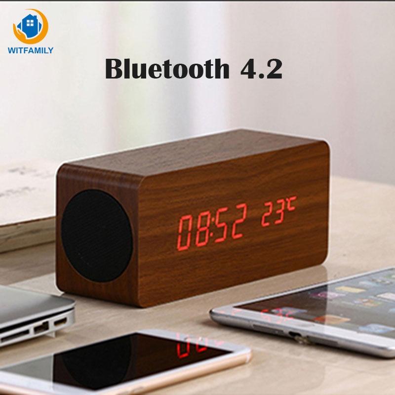 LED réveil sans fil électronique montre affichage bois Bluetooth numérique désespoir tador table basse son haut-parleur double soonze alarme