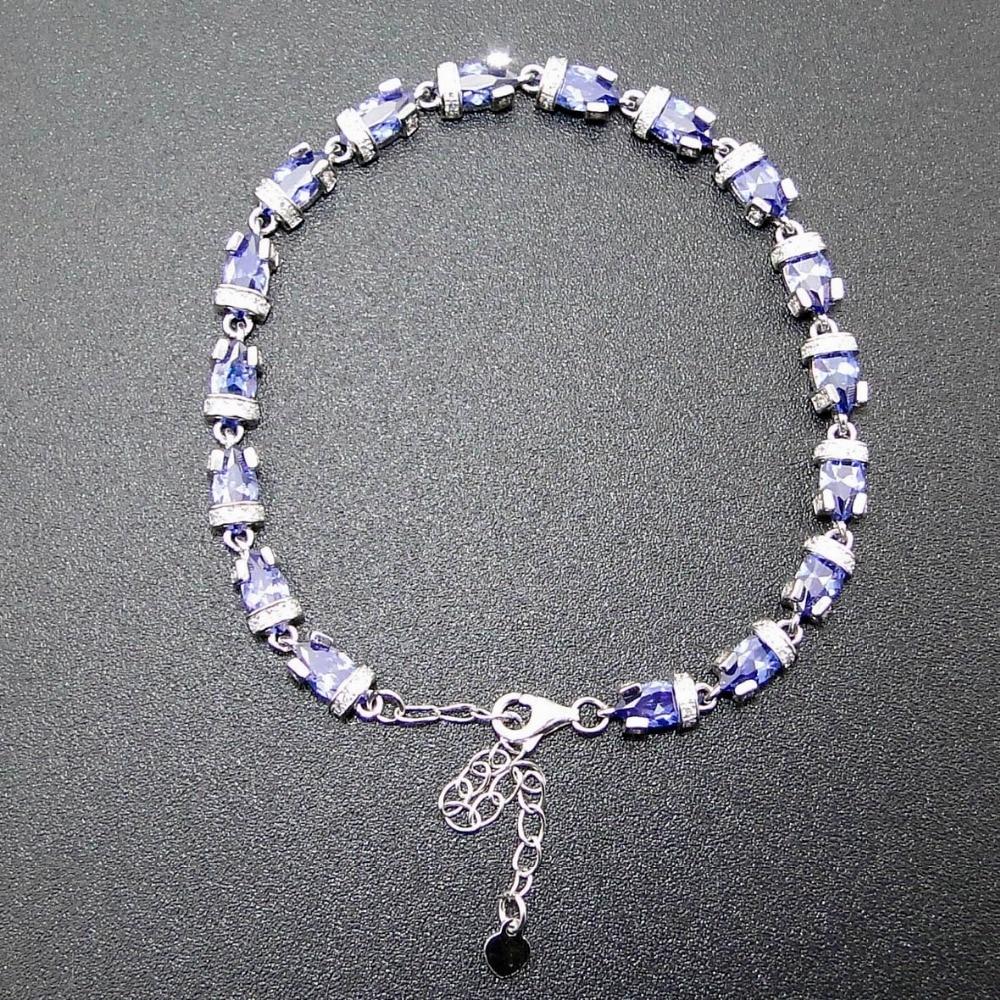 Fine Jewelry 100 925 Sterling Women Jewelry Silver Bracelet with Tanzanite Color Stone DR01407207B 7 1