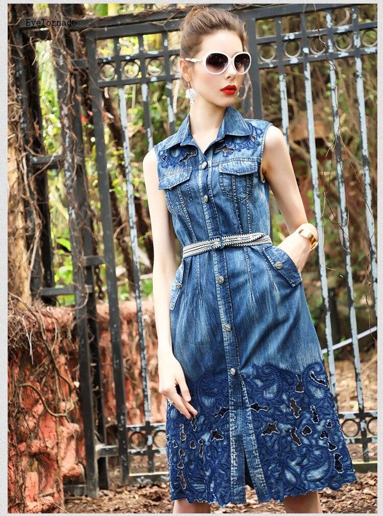 Women Summer Hollow Out Flower Embroidery Blue Sleeveless Denim Jean Dress Long Casual Work Beach Boho