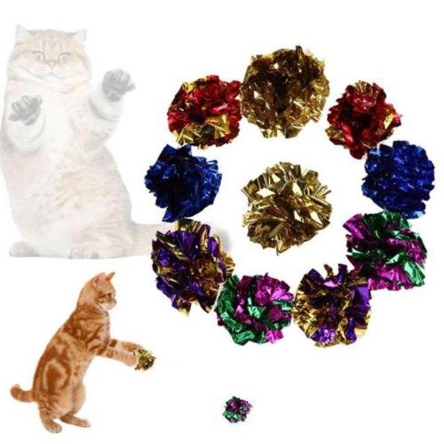 Colore casuale Multicolore Mylar Piega Sfera del Gatto Anello di Giocattoli di C