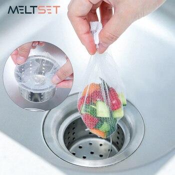 100 unids/lote sumidero de drenaje del fregadero filtro de malla desechable bolsa de basura baño cocina papelera filtro bolsa de red de almacenaje