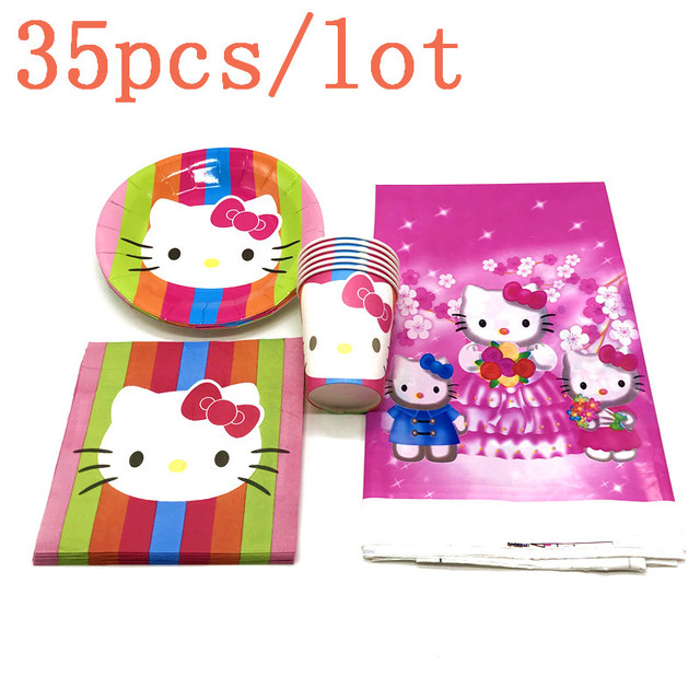 22b831da2 Hot Sale Hello Kitty Pink Cup Plate Napkin Tablecover Girl Birthday Party  Wedding Paper Tableware Decoration Supply 35Pcs