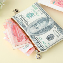 New Currency Printing Pattern Wallet Zipper Storage Package Dollar Sterling Euro Ruble Style