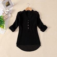 TFGS Autumn Women's Black V-neck Chiffon Ladies Long Sleeve Loose Shirts Tops Blouses