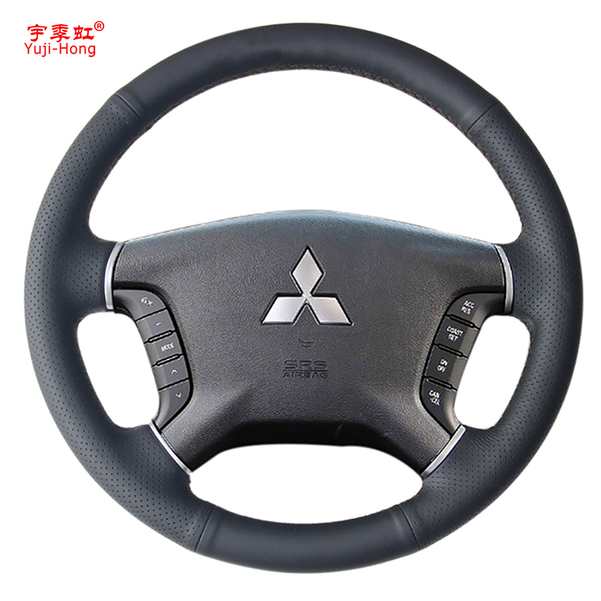 Yuji-Hong Artificial Leather Car Steering Wheel Covers Case for Mitsubishi Pajero Hand-stitched Cover Black цена