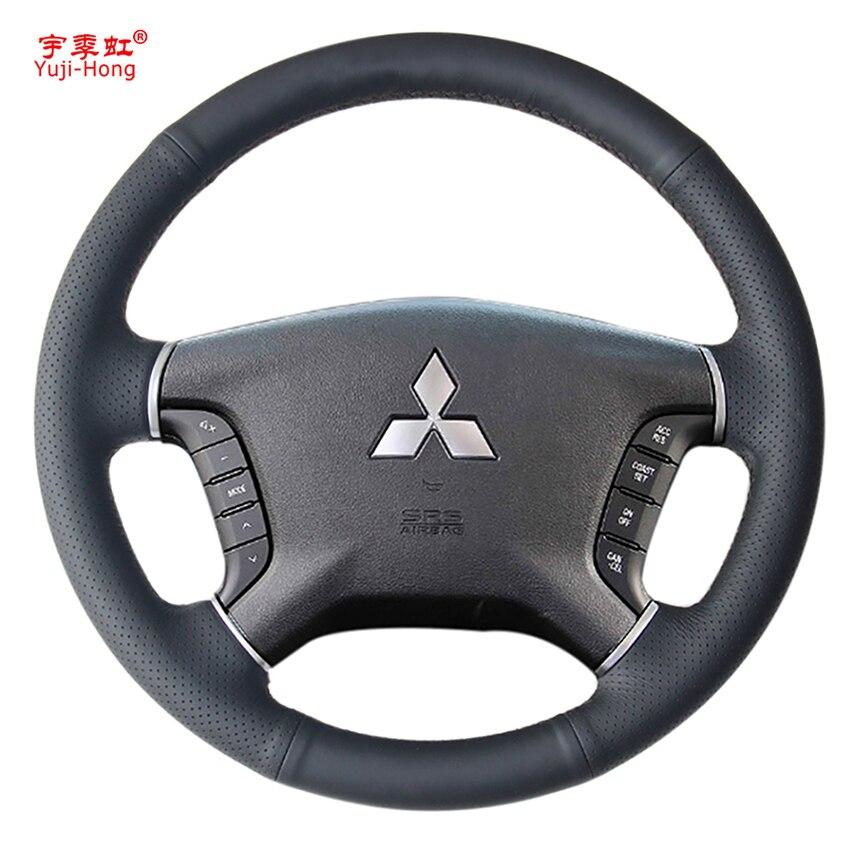 Yuji-Hong Funda de cuero Artificial para volante de coche funda para Mitsubishi Pajero funda cosida a mano negro