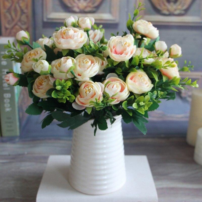 6 веток яркие искусственные пион цветок Шелковый Осень Искусственные цветы Свадебные вечерние партия украшения