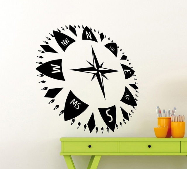Nautical compass vinyl wall stickers childrens room boy bedroom living room office home decoration art wall stickers 1HH1