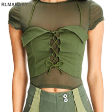 RLMABABY 2 Piece Set Mesh Bandage T Shirts Casual See Through Short Sleeve Women Tops Hollow Out Summer Crop Top