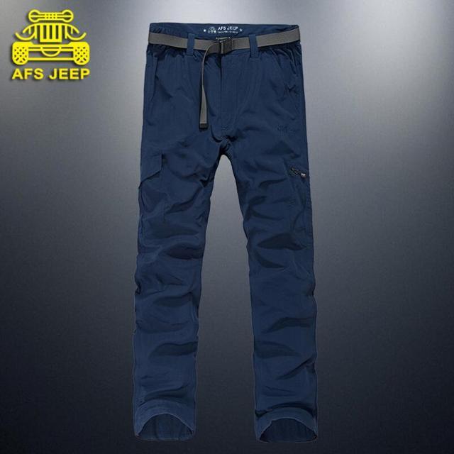 AFS JEEP Marca Calças dos homens de Roupas masculinas Fina e Macia Respirável Quick Dry Calças Calças Retas Frete Grátis
